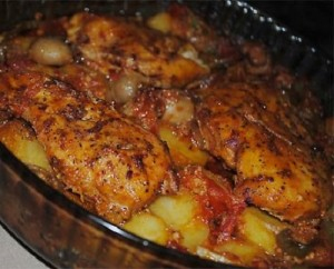 دجاج البطاطس المحمرة