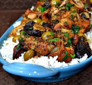 دجاج بالزيتون والرز